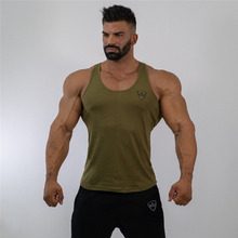 2019 mens army green vest jogger fitness shirt bodybuilding fashion cotton casual clothing