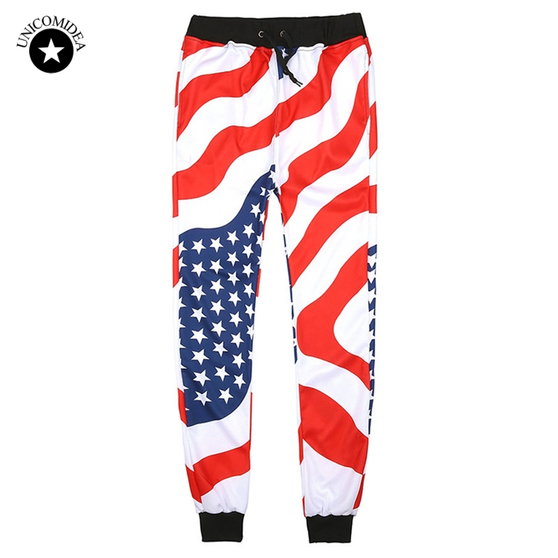 New Men Casual American USA Flag Printed Joggers Pants Mens 3d Stars And Stripes Print White Hip Hop Fashion Pants Mens Trousers ...