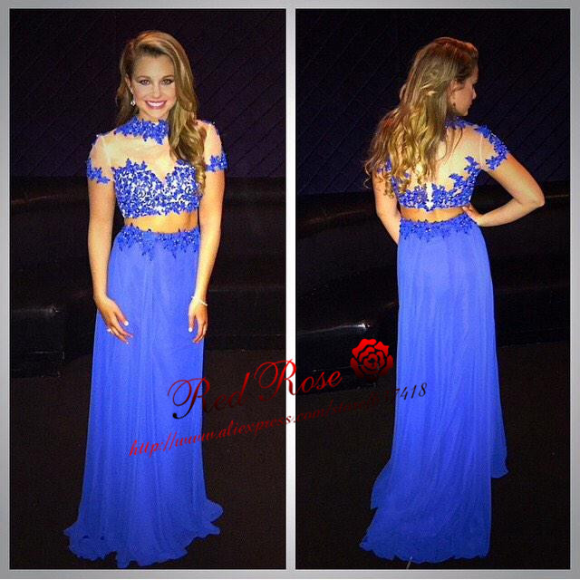 Long Two Piece Royal Blue Prom Dress Evening Dress with Lace ...