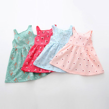 Летней девушки платье Печати шаблона Дети пачка платья для девочек девочка одежда Без Рукавов девушки платья