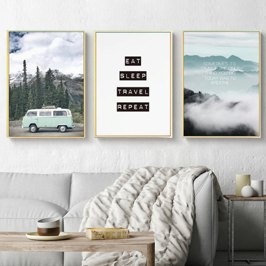 Modern Landscape Inspiring Travel Quote Nordic Canvas Paintings Posters Prints Wall Art Pictures Living Room Home Office Decor