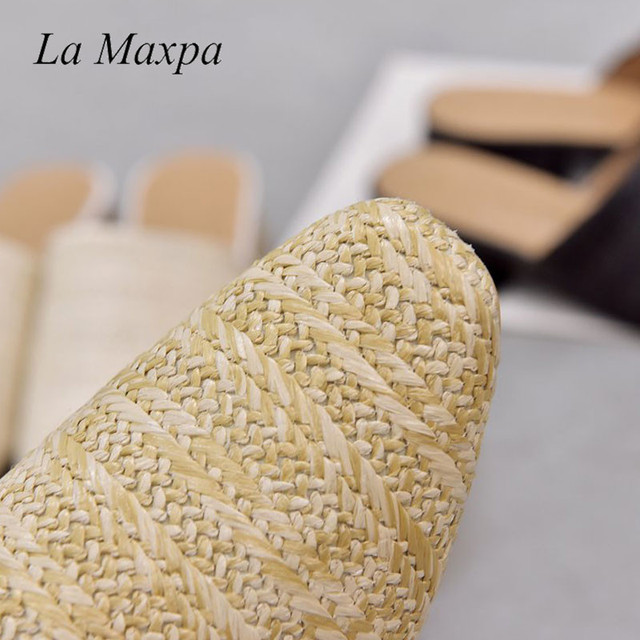 La MaxPa Women Cane Weave Mules Round Toe Flat Heel Sandals Slip On Slides Summer Slippers Size 35-40 Round Toe Straw Flat Heel