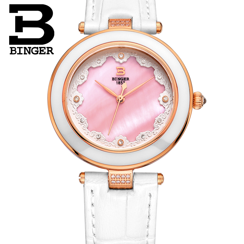 Famous Brand Watch Women Fashion  Casual Watches BINGER Relogio Feminino Ladies Quartz Wristwatches Leather Strap Sapphire women watches women top famous brand luxury casual quartz watch female ladies watches women wristwatches relogio feminino