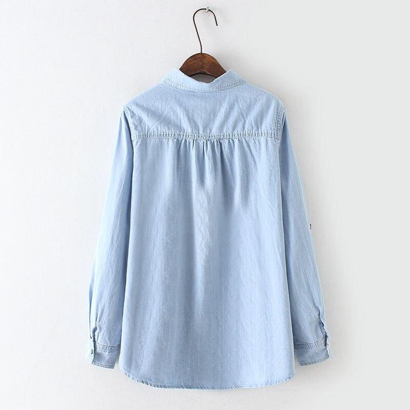 Dreawse Stop118 ヴィンテージジーンズシャツ女性長袖プラスサイズジーンズシャツカジュアルストリート女性はデニムシャツブラウス女性服 最終割引