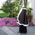 Свадебный Кабо XL (размер 12-16) черный/Слоновая Кость Атласная Свадебное Манто с Меховой отделкой Ручной Работы в