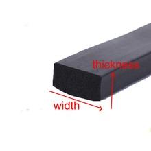 1 Meter Cabinet door window EPDM Flat Rubber Foam Bar Seal Strip black square strip ( size : thickness  x width )