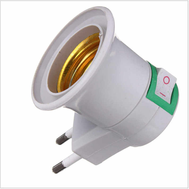1 PC חם למכור מעשי לבן E27 LED אור שקע האיחוד האירופי Plug מחזיק מתאם ממיר על/OFF עבור הנורה מנורה