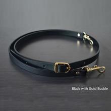 135CM Adjustable Leather Strap Handbag Shoulder Bag Belts Handmade Replacement Gold Buckle Parts Accessories  Black