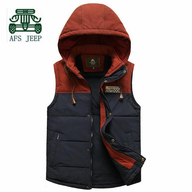 AFS JEEP Fashion Design Man's Autumn Single Layer Leisure Sleeveless Jacket,Detachable Hat Patchwork Younger Casual Vest Brand