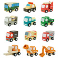 12Pcs/Lot Multi-pattern Creative Toys Mini Wooden Car Model Baby Kid Educational Gift Cartoon Traffic Toys Set Brinquedo Menino