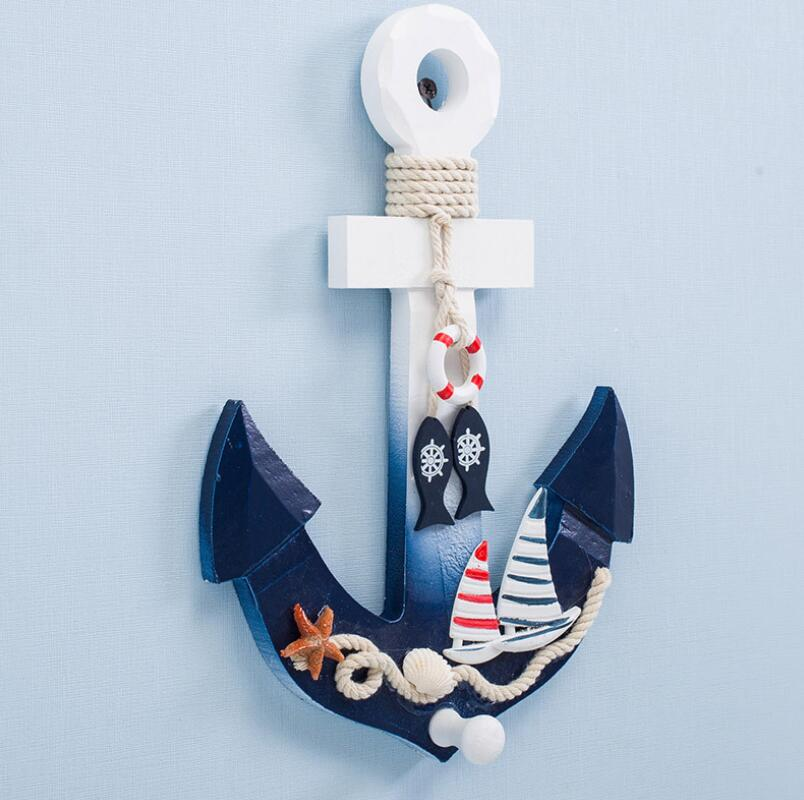 Mediterranean Ocean Style Wooden Boat Anchor Sailboat Hook Creative Home Living Room Bedroom Bar Hanging Modern Wall Decoration in Wind Chimes Hanging Decorations from Home Garden