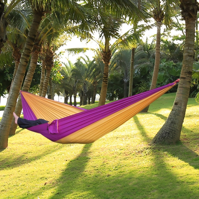 High Quality One Person Hammock Assorted Color Garden Swing Chair Nylon  Fabric Hammock With Strong Rope