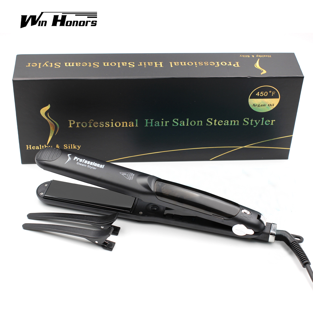 Steam Function Flat Iron Tourmaline Ceramic Vapor Professional Hair Straightener with Argan Oil Infusion Straightening Irons