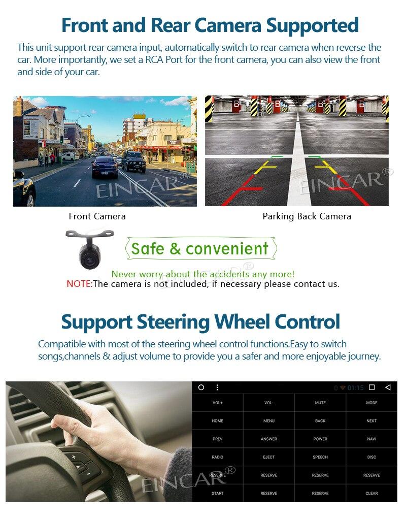 EinCar 7 Double 2Din Android 7.1 OS Octa Core Car Stereo GPS car DVD Navi In Dash Head Unit for Corolla(2007-2013)+Bluetooth