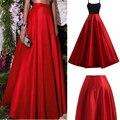 Llamativo Rojo Satén Largo Faldas 2016 Por Encargo de la Longitud del Piso Sólido Mujeres de La Manera Formal Del Partido Faldas 100% Real imágenes