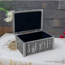 Egyptian style small size metal jewelry box cotton swabs box makeup organizer tin box for jewelry storage Z186