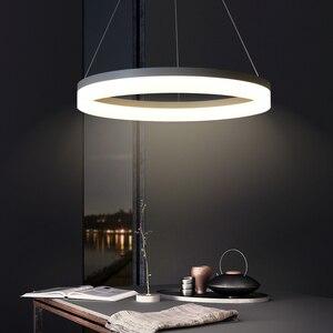 Image 1 - Trắng/Đen LED Hiện Đại Mặt Dây Chuyền Đèn Cho Ăn Phòng Khách Lamparas Colgantes Pendientes Treo Đèn Treo Đèn Led