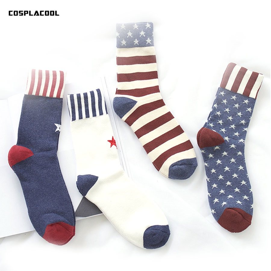 [COSPLACOOL]socks men warm Terry Thick socks couples winter British Pure cotton College style embroidery Sokken calcetines hombr