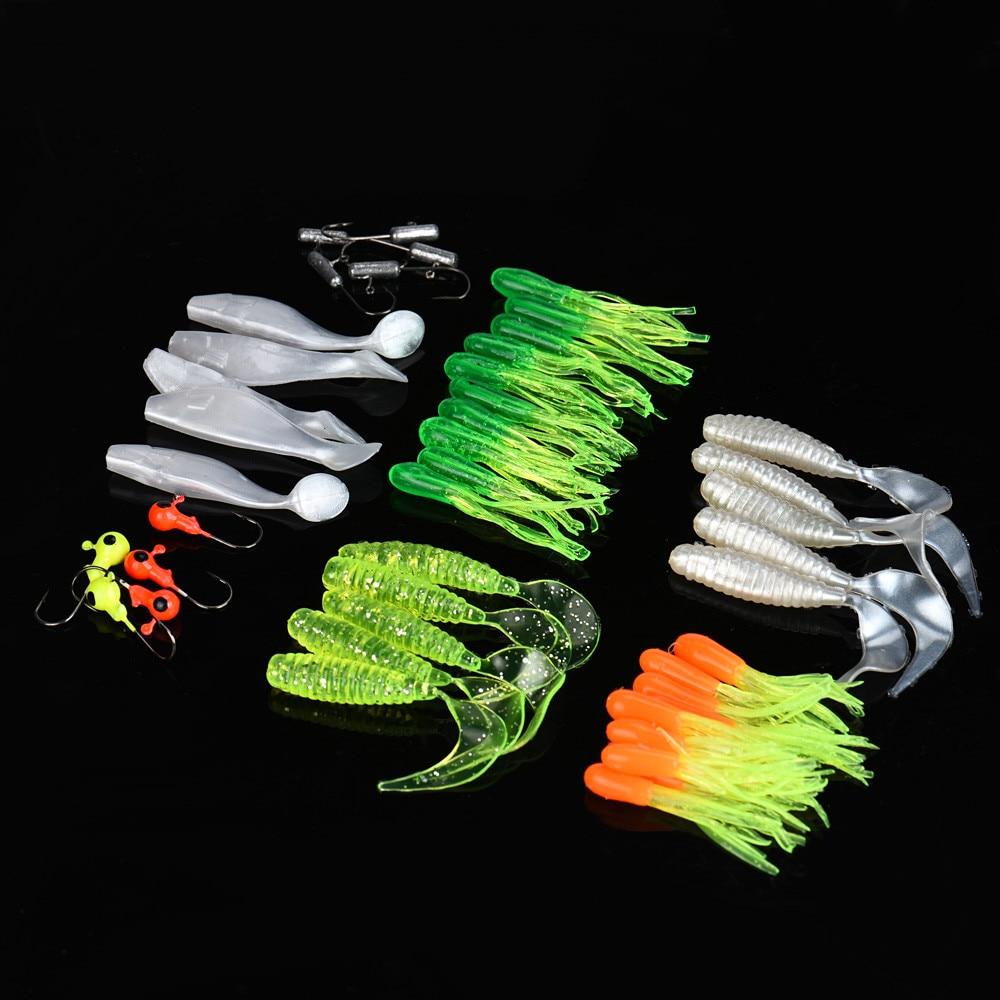 Wholesale Prices 35PCS Soft Worm Lure Carp Fishing Lure Set + 10 Small Lead Head Hook Artificial Fishing Bait iscas de pesca