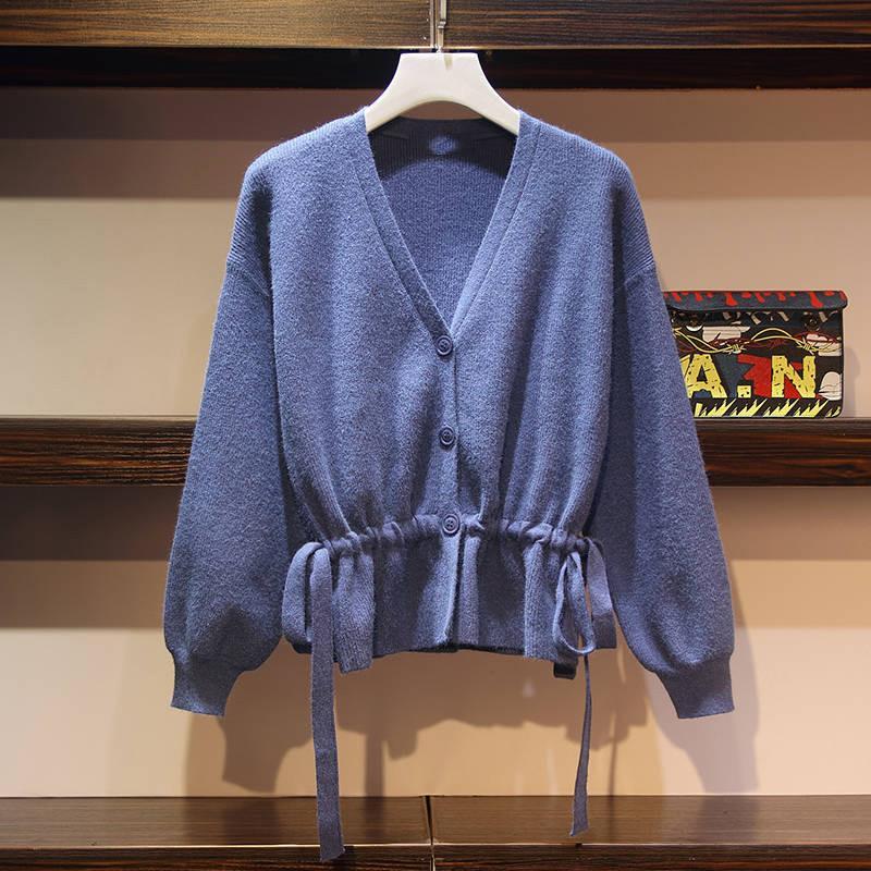 Manches Définit apricot Robe Plus V821 Taille Mince 2019 Chandail Sans Lanterne Automne Tricot 2 Printemps Femmes Pcs 5xl Tops Femelle Ruches Ensembles Blue 0qA4T