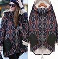 2016 Inverno Novas Mulheres Plus Size Solto Hoodies Grossos Costura Casual Plaid Zipper Natal Harajuku Camisolas XXXXXL