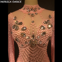 Women Sexy Stage Pink Color Jumpsuit Pink Glass Sparkling Crystals Bodysuit Nightclub Party Stage Wear Performance Costumes