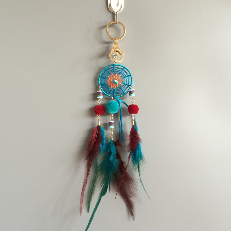 Small Dream Catcher Car Hanging Keychain Handmade Feather Dream Catchers Bag Clip Hanging Decoration Free Shipping