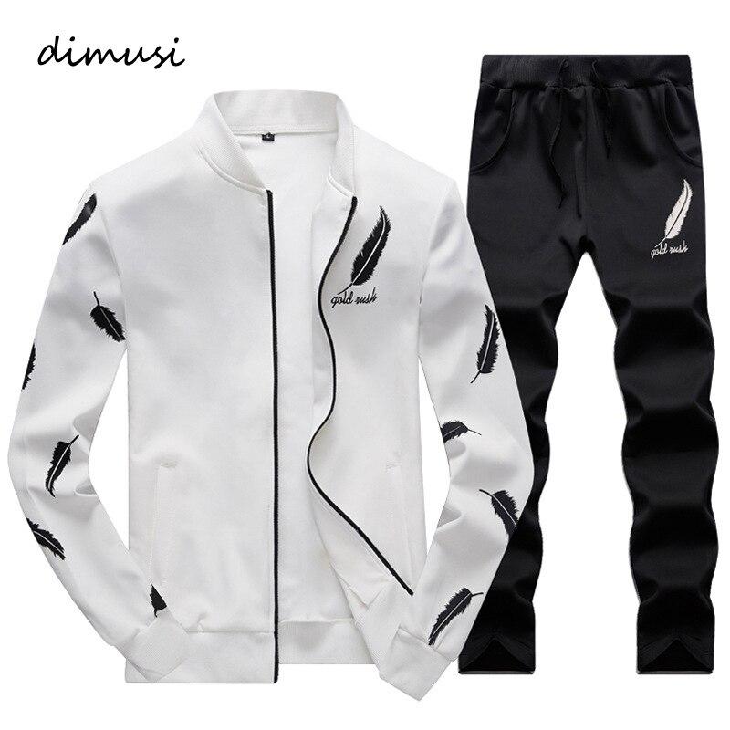 DIMUSI Spring Autumn Men Sportswear Hoodies Set Suit Clothes Tracksuits Male Sweatshirts Coats 2PC Jacket + Pants Tracksuits 4XL