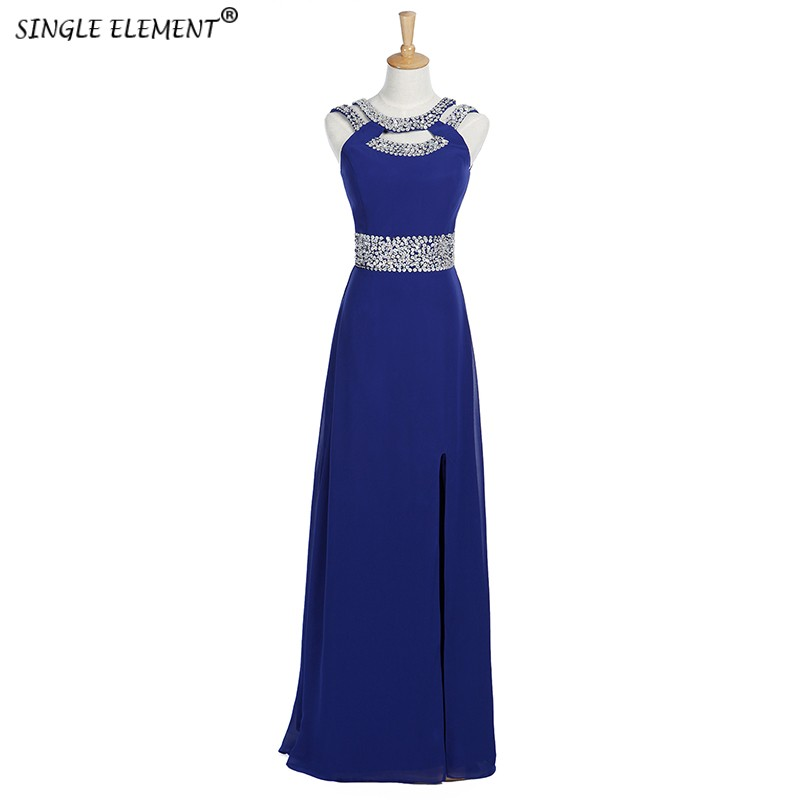 SINGLE ELEMENT Halter Long Chiffon Beaded   Bridesmaid     Dress   under 50