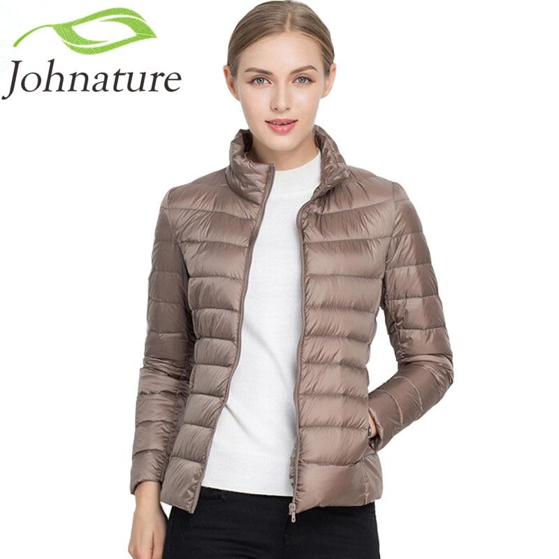 Johnature 2018 Neue Frauen Mantel Herbst Winter 90% Weiße Ente Unten Jacke 16 Farben Warm Dünne Zipper Fashion Licht Unten mantel S-3XL