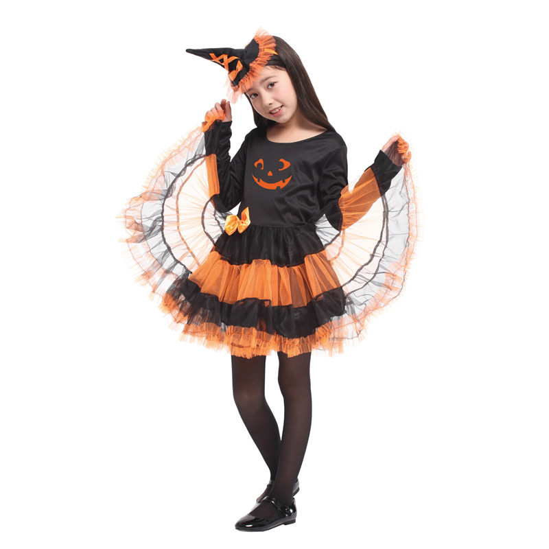 Fancy Girls Puff skirt Pumpkin Dresses Witch Cosplay Movie Anime Masquerade Party Children Christmas Gift Costumes Magic gowns