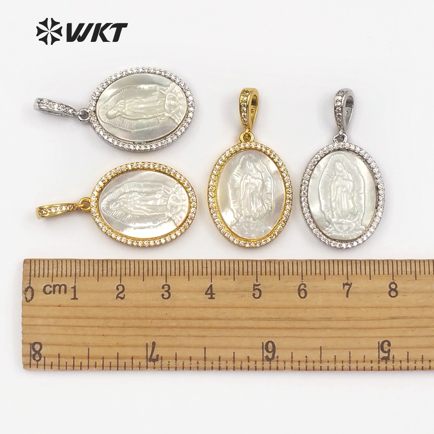 Image 5 - WT MP107 Virgin Mary Medallion Shell Pendent Life Of Tree Pendant  Charm Dainty Micropave Religious Jewelry Gift For WomenPendants   -