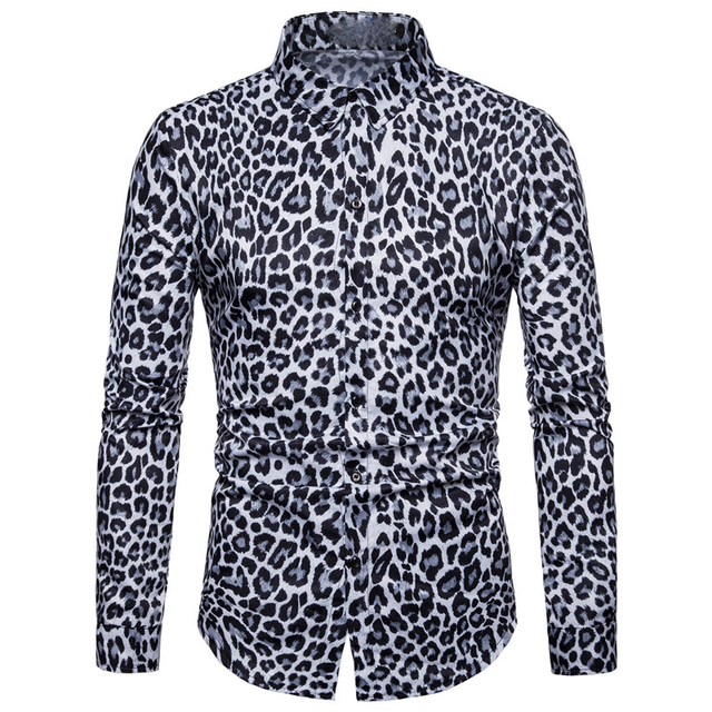 05ac489b7 Sexy Leopard Men Shirt Party Casual Blusa Plus Size New Arrival Long Sleeve  Blouse Top Male 2018 Novelty Fashion Tuxedo Shirts