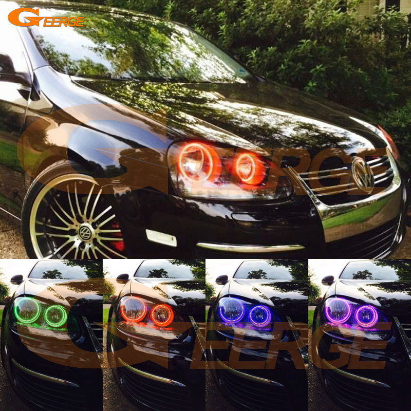 For VOLKSWAGEN VW golf 5 V mk5 2004 2005 2006 2007 2008 2009 Angel Eyes Multi-Color Ultra bright RGB LED Angel Eyes kit hochitech white 6000k ccfl headlight halo angel demon eyes kit angel eyes light for vw volkswagen golf 5 mk5 2003 2009
