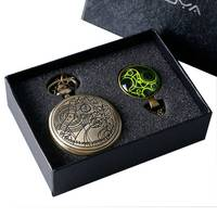 Doctor Who UK Movies Pocket Watch Set With Dr Who Necklace Pendant Vintage Bronze Quartz FOB