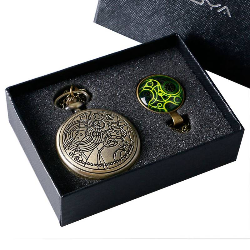 Doctor Who UK Movies Pocket Watch Set With Dr. Who Necklace Pendant Vintage Bronze Quartz FOB Watch Womens Mens Best Gifts Box