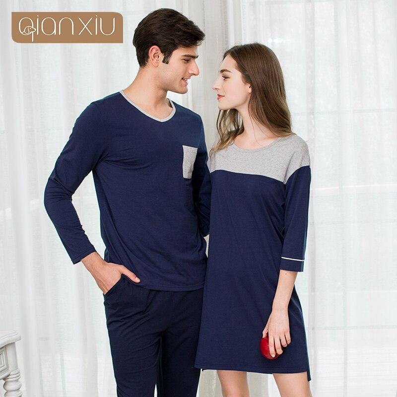 2019 Autumn Brand Homewear Couples Casual Pajama Sets Men Soft Cotton Sleepwear Suit Male Long Sleeve V-neck Collar Pyjama Sets