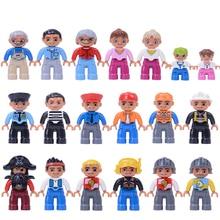 6 шт./лот фигурки большие блоки Совместимые LegoING Duploed фигурки семья поезд строительные блоки Образование Игрушки для Cchildren(China)