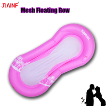 JIAINF 2018 Pink Mesh Inflatable Floating Row Flamingo swimming Pool float island party toys For Adults Water Float Pad