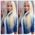 Цвет #613 Блондинка Человеческих Волос Парик Русый Парик Фронта Шнурка Человеческих волос Полный Парик Шнурка Бразильских Волос Средняя Часть Прямо женщины