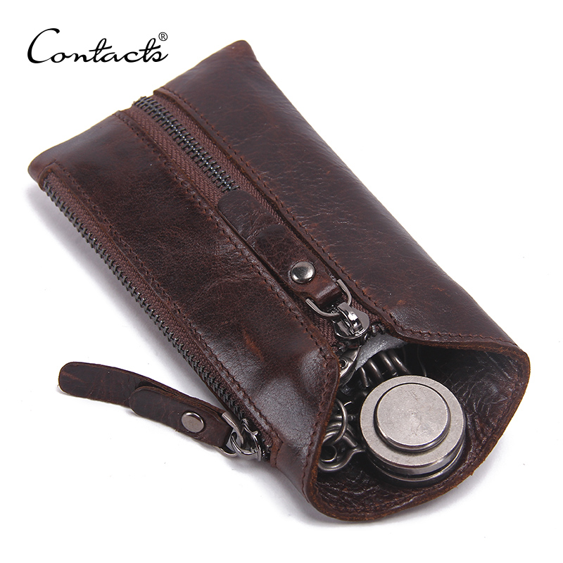 CONTACT'S 100% Genuine Leather Key Wallet Men Car Key Holder Zipper Keys Case Top Quality Male Man Housekeeper Keys Organizer