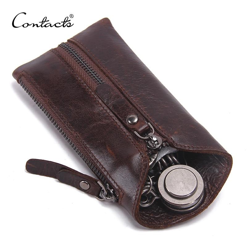 CONTACTS 100% Genuine Leather Key Wallet Men Car Key Holder Zipper Keys Case Top Quality Male Man Housekeeper Keys OrganizerKey Wallets   -