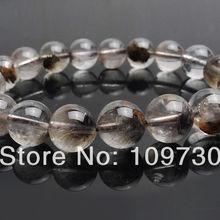 00654 натуральный кристалл черный, серебристый цвет брукита Рутиловый Кварц Браслет 10-10,5 мм