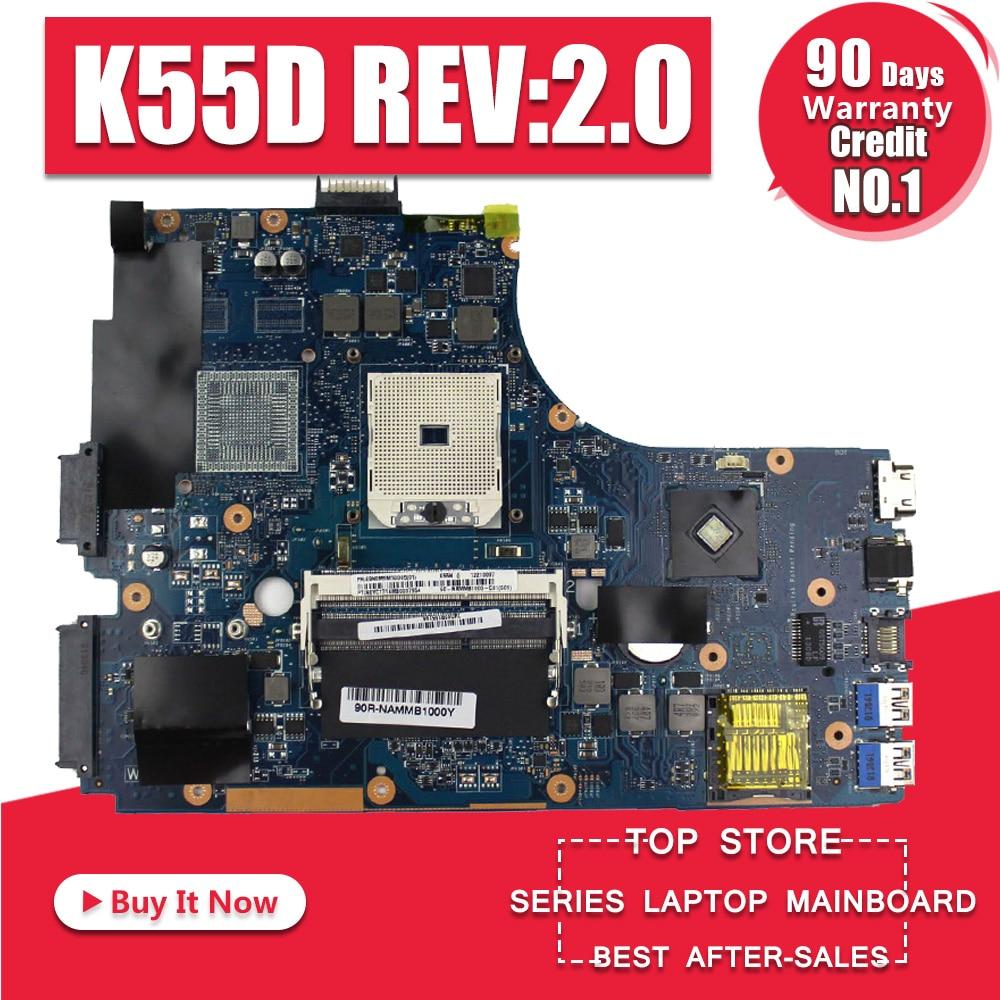K55N płyty głównej REV: 2.0 dla ASUS K55D K55DR K55DE A55D laptopa płyty głównej płyta główna w K55N płyty głównej płyta główna K55N test płyta w 100% OK