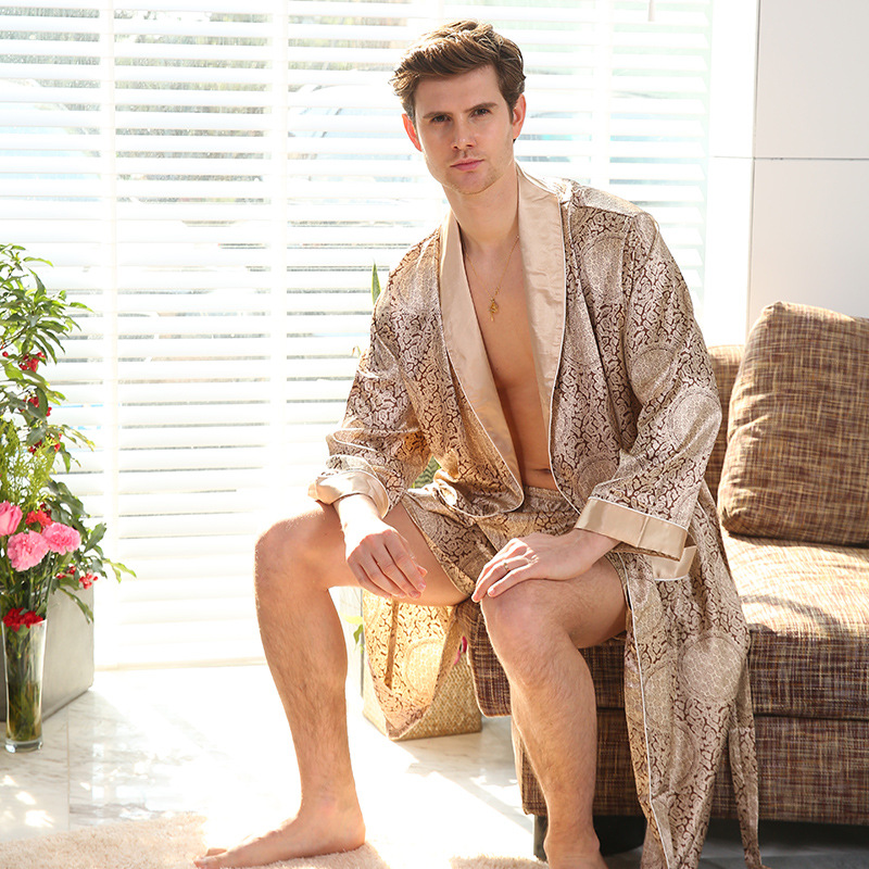 Cross-Border Men One-Piece Silk Robe Summer Thin Silk-like Long Sleeve Pajamas XL Bathrobes 88001 (No Pants)(China)