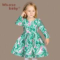 New Design Girls Cotton Satin Print Winter Dress Kids European Style Long Sleeve Green Flower Autumn
