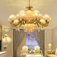 New European style crystal chandelier copper luxury living room lighting restaurant lights candle lights bedroom lights retro