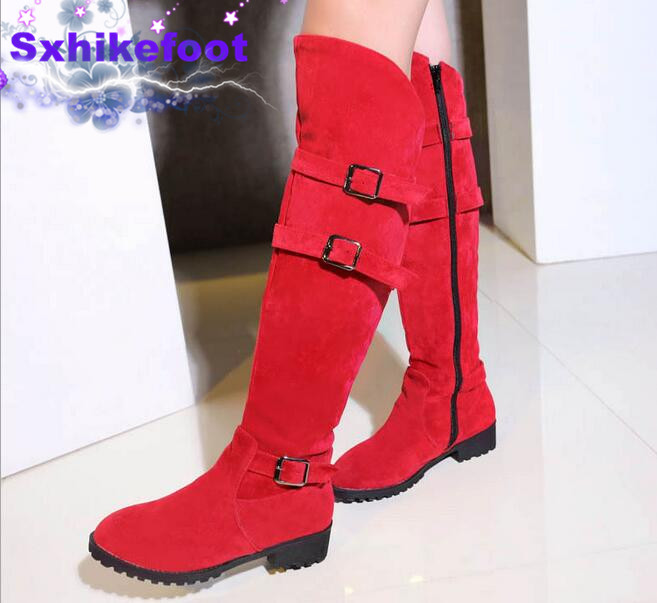 ФОТО Free Shipping  Large size Woman shoes Warm winter boots pure new fashion  Europe  2017 belt buckle all-match casual  BOOTS