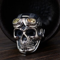 Real S925 silver vintage Thai silver craft fashion glasses skull shape men's silver ring