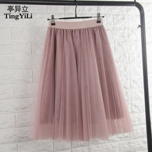 TingYiLi Tulle Skirts Womens Black Gray White Adult Tulle Skirt Elastic High Waist Pleated Midi Skirt 2016 cheap A-Line Mesh Empire Knee-Length None Solid Casual Natural Color